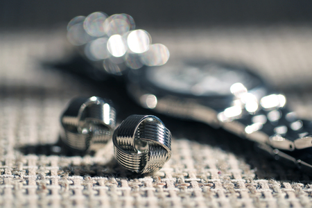cuff links: Grooms elegant watch and cuff links