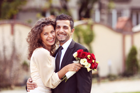 dress suit: Beautiful couple celebrating their marriage