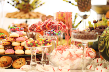 Delicious sweets at wedding candy bar