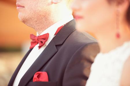 multi story: Joyful bride and groom on wedding day with beautiful tulip bouquet