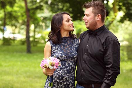 multi story: Joyful couple with beautiful bouquet getting married