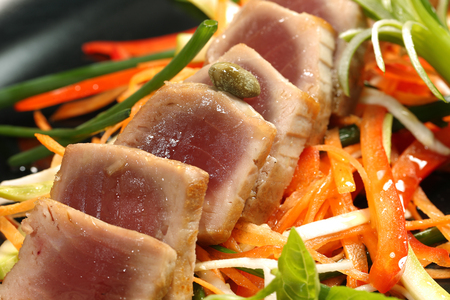 ahi: Delicious gourmet food with tuna and vegetables Stock Photo