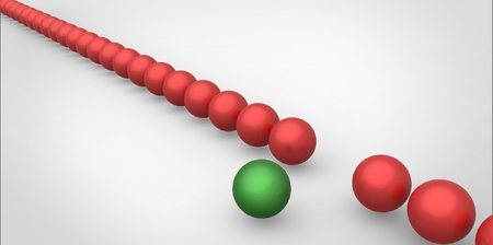 dissident: Many identical 3d red spheres and only one green sphere different white background