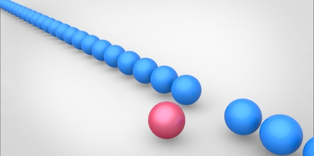 dissident: Many identical 3d blue spheres and only one pink sphere different white background