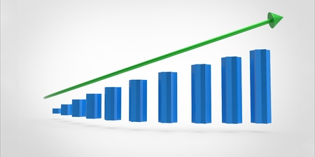 statistician: Increasing schedule of blue colonies and green arrow Stock Photo
