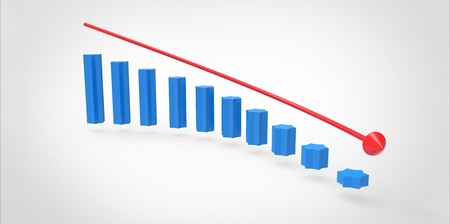 statistician: Schedule of decline of blue colonies and a red arrow Stock Photo