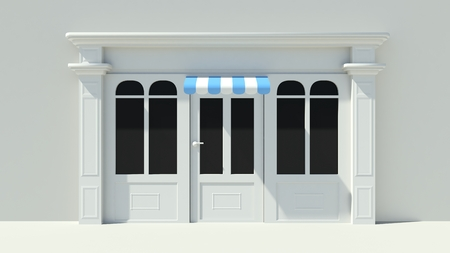 awnings: Sunny Shopfront with large windows White store facade with blue and white awnings