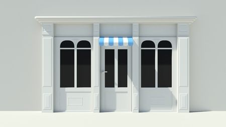 Sunny Shopfront with large windows White store facade with purple pink and white awnings