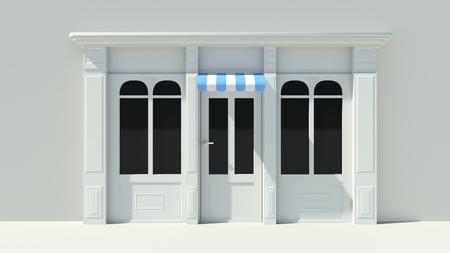 Sonnig Shopfront mit großen Fenstern, weiß Shopfassade mit lila rosa und weißen Markisen