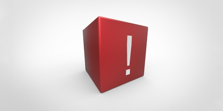 questionable: 3D red cube with white exclamation mark isolated on white background Stock Photo