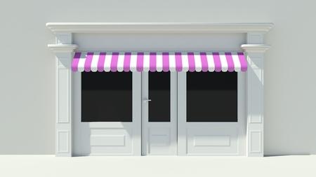 Sunny Shopfront met grote ramen White winkel gevel met paars, roze en witte luifels Stockfoto