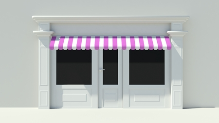 shopfront: Sunny Shopfront with large windows White store facade with purple pink and white awnings