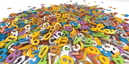 multi colour: 3D multi colour pile of alphabet letters on white background Stock Photo