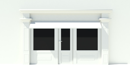 shopfront: Sunny Shopfront with large windows White store facade with awnings Stock Photo