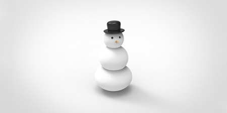 red label: 3d snowman with hat isolated on white