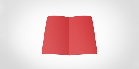 opened book: red blank magazine spread on white background. Using mesh opened book pages Stock Photo