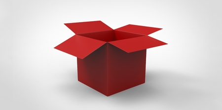 noname: red 3D Blank opened cardboard box isolated over white background Stock Photo