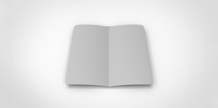 opened book: grey gray blank magazine spread on white background. Using mesh opened book pages