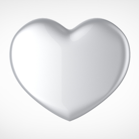 february 14th: 3D silver chrome metal Heart Shape on a white background