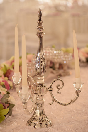 candle holder: Candle holder on elegant dinner table
