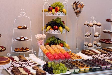 Delicious candy bar with fruits