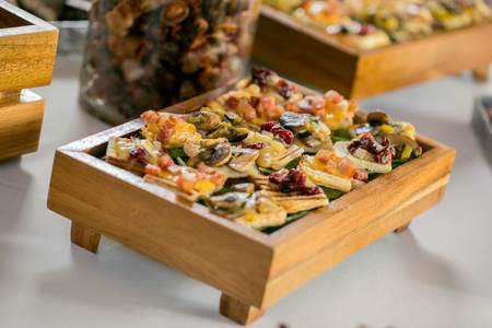 Table with delicious finger food