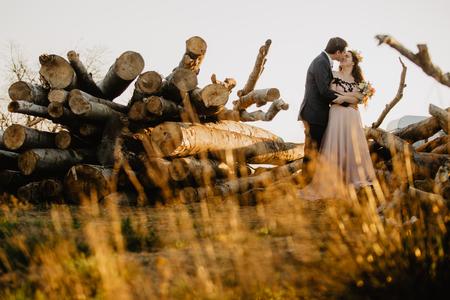 Beautiful wedding couple posing in suset near wooden cut Фото со стока