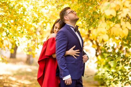 Beautiful wedding couple posing in nature