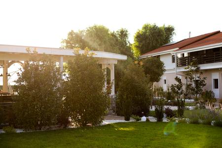 Beautiful luxury outdoor terrace Редакционное