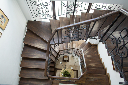 Interior stairs of beautiful mansion hotel Редакционное