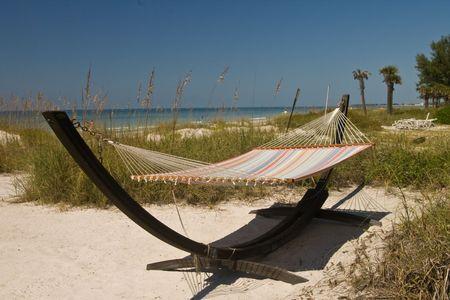 A hammock on the beach Stock Photo