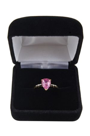 box: A pink sapphire ring in a box Stock Photo