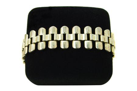 Sterling silver link bracelet on a black velvet box