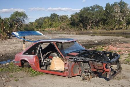 abandoned car: Abandoned wreck of a car