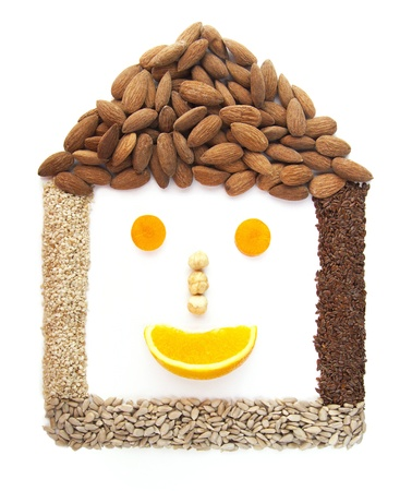 Funny smiling house made of seeds isolated on white background Stock Photo - 15575426