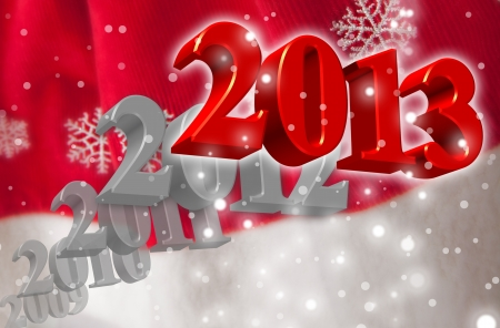 Greeting Card for the New Year 2013 with 3D numbers on a blurred Santa s clothing background with snowflakes Stock Photo - 15796258