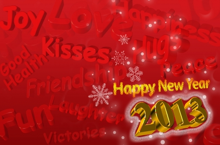 best wishes: Best wishes for the Year 2013 Greeting Card with 3d text in red and gold color Stock Photo