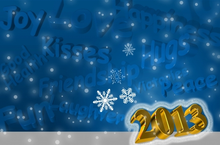 Best wishes for the Year 2013 Greeting Card with 3d text in blue color photo