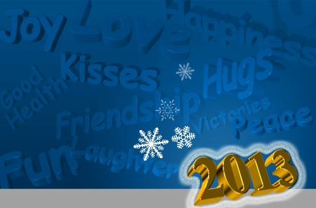 Best wishes for the Year 2013 Greeting Card with 3d text in blue color Stock Photo - 15796256