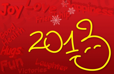 Smiley Happy New Year 2013 Greeting Card with 3d text in yellow color photo