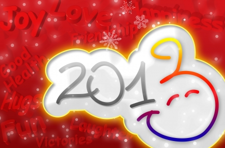 three wishes: Smiley Happy New Year 2013 Greeting Card with 3d text in red and yellow color