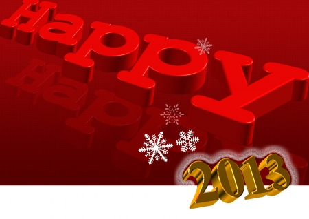 Happy New Year 2013 Greeting Card with 3d text in red color Stock Photo - 15796257
