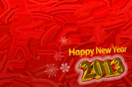Happy New Year 2013 Greeting Card with 3d text in gold Stock Photo - 15796303