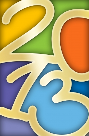 Colorful 2013 New Year Greeting Card with the numbers looking like stained glass Stock Photo - 15796255
