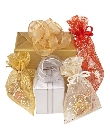 Group of colorful gift-boxes isolated on a white background photo