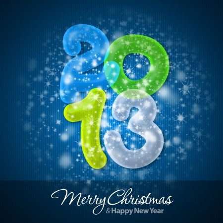 Merry Christmas and Happy New Year 2013 Greeting Card Stock Photo - 16241130