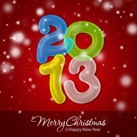 Merry Christmas and Happy New Year 2013 Greeting Card Stock Photo - 16241124