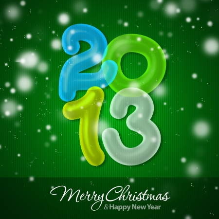 Merry Christmas and Happy New Year 2013 Greeting Card Stock Photo - 16241116
