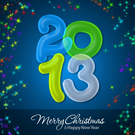 Merry Christmas and Happy New Year 2013 Greeting Card Stock Photo - 16241129