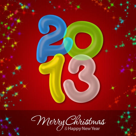 Merry Christmas and Happy New Year 2013 Greeting Card Stock Photo - 16241126